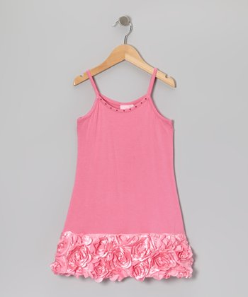 Pink Floral Appliqué Ruffle Dress - Toddler & Girls