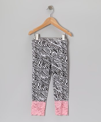 Pink & Black Zebra Leggings - Toddler & Girls
