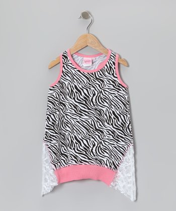 Pink & Black Lace Sidetail Tank - Toddler & Girls