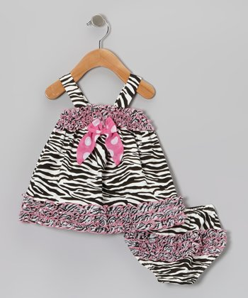 Pink & Black Zebra Dress & Diaper Cover - Infant