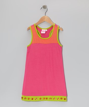 Pink & Orange Color Block Babydoll Dress - Toddler & Girls