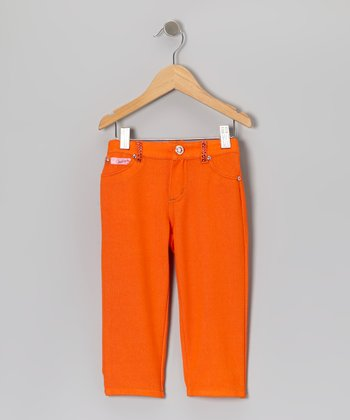 Orange Rhinestone Jeggings - Girls