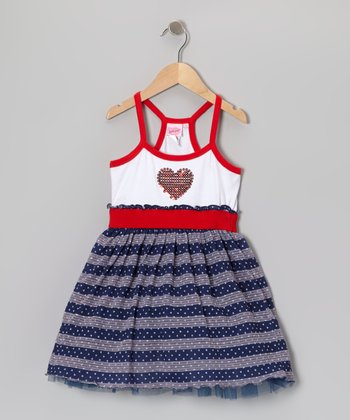 Blue & Red Stripe Heart Dress - Girls