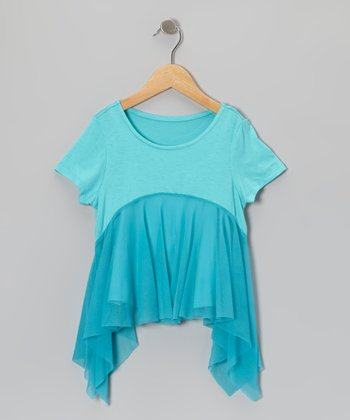 Blue Sidetail Tank - Toddler & Girls