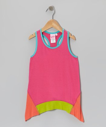 Pink & Orange Color Block Sidetail Tank - Toddler & Girls