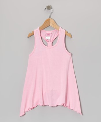 Pink Twisted Racerback Tank - Girls