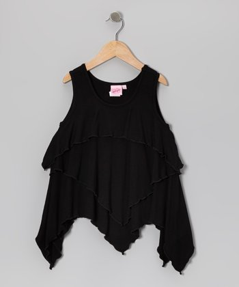 Black Ruffle Layered Tank - Girls