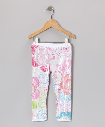 White Sequin Daisy Leggings - Girls