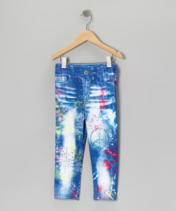 Denim Blue Sublimation Leggings - Girls