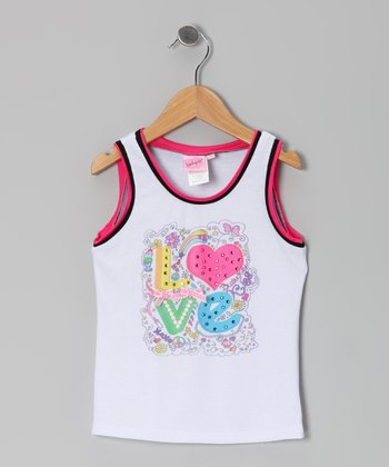 White Sequin 'Love' Tank - Toddler & Girls