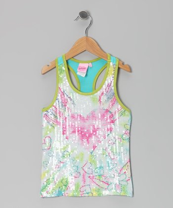 Lime & Pink Sequin Heart Tank - Girls