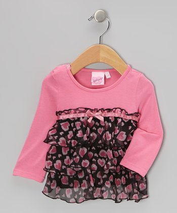 Pink & Black Babydoll Tunic - Infant & Toddler