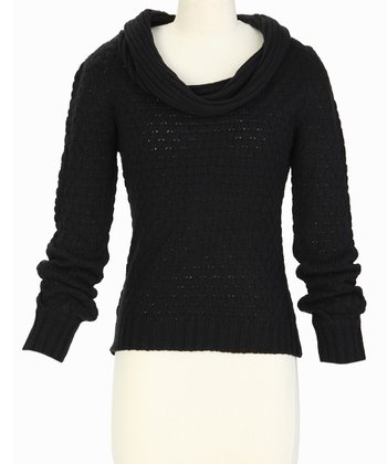 Black Pointelle Cowl Neck Sweater