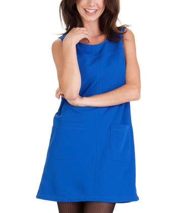 Blue Patch Pocket A-Line Dress