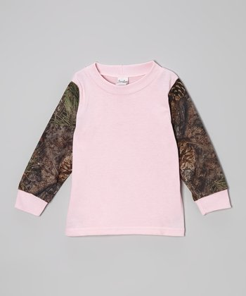 Pink & Mixed Pine Camo Long-Sleeve Tee - Infant, Toddler & Girls