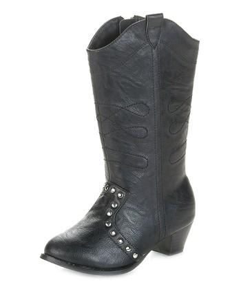 Black Marino Cowboy Boot - Kids