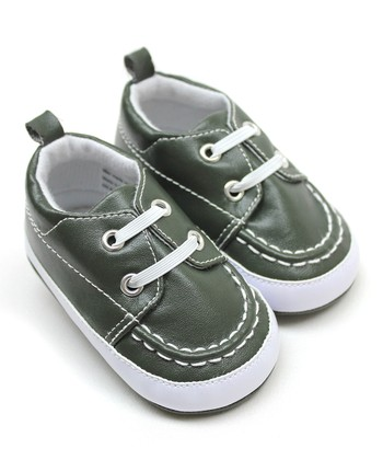 Tender Toes Army Green Boat Shoe