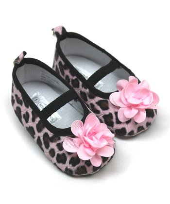 Tender Toes Pink Cheetah Flower Mary Jane