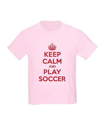 Light Pink 'Keep Calm and Play Soccer' Tee - Toddler & Girls