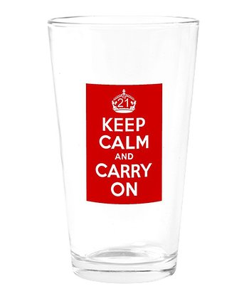 Red 'Keep Calm and Carry On' Drinking Glass