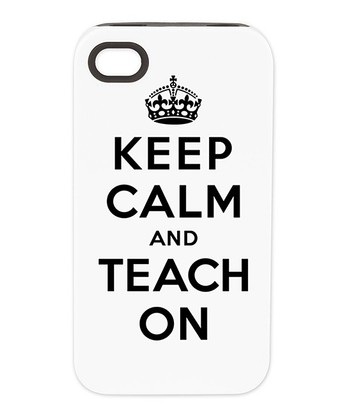 Black & White 'Keep Calm and Teach On' Case for iPhone 4/4S