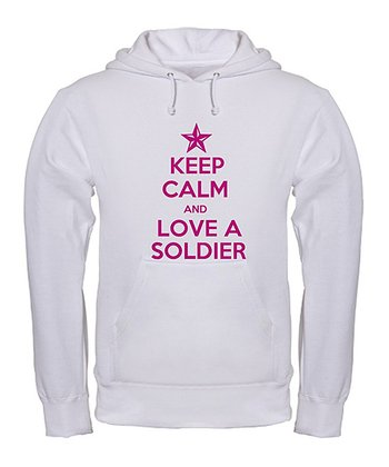 White & Pink 'Keep Calm and Love a Soldier' Hoodie - Women