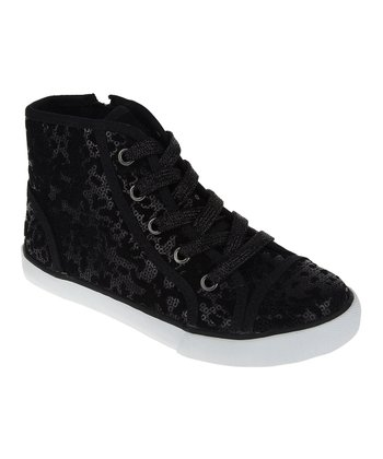 Black Sequin Hi-Top Sneaker