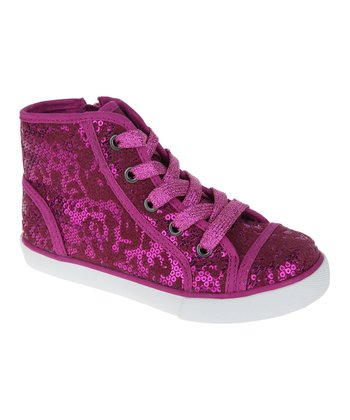 Magenta Sequin Hi-Top Sneaker