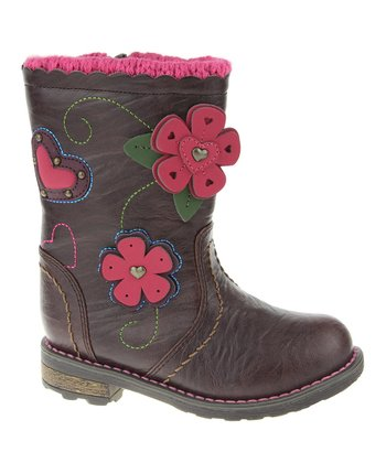 Brown Flower Appliqué Boot