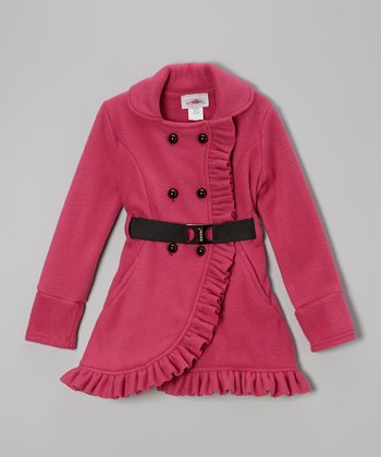 Fuchsia Ruffle Fleece Coat - Toddler & Girls