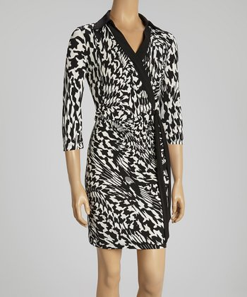 Ivory & Black Warped Houndstooth Wrap Dress