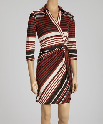 Copper, Black & Cream Stripe Wrap Dress