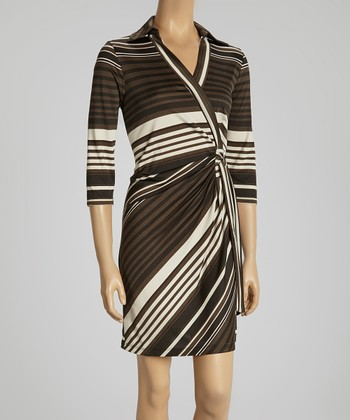 Charcoal, Black & Cream Stripe Wrap Dress