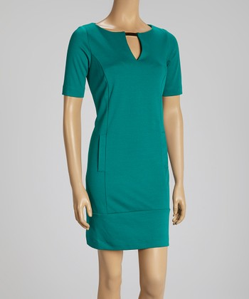 Green Gold-Tab Shift Dress