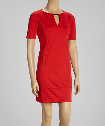 Red Gold-Tab Shift Dress