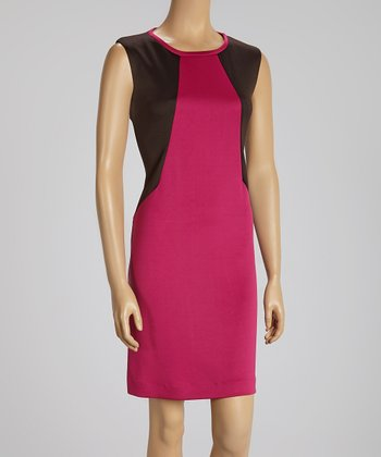 Brown & Berry Color Block Cap-Sleeve Dress