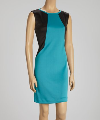 Black & Teal Color Block Cap-Sleeve Dress