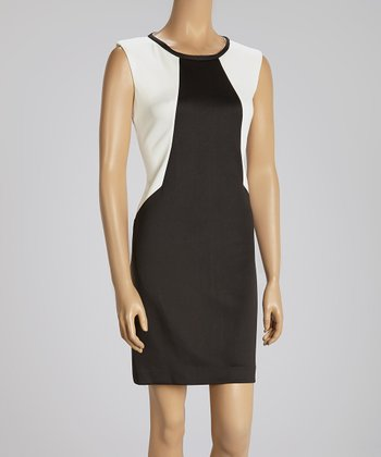 Ivory & Black Color Block Cap-Sleeve Dress