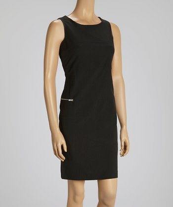 Black Zipper Sleeveless Dress