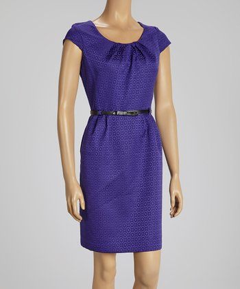 Purple Diamond Cap-Sleeve Dress