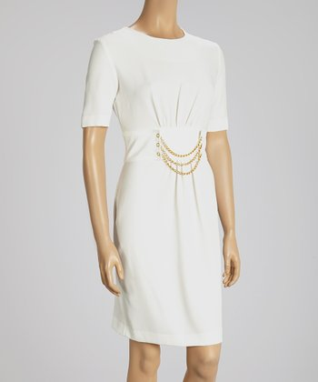 Ivory Chain Belt Dress