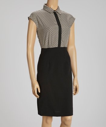 Black, Ivory & Tan Tile Cap-Sleeve Dress