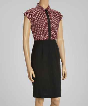 Black, Ivory & Red Tile Cap-Sleeve Dress