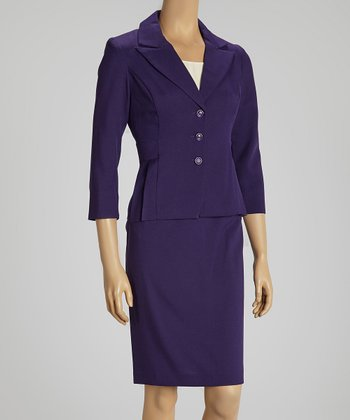 Eggplant Pleated Blazer & Skirt