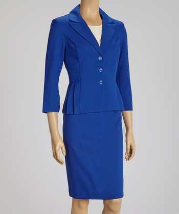 Bright Navy Pleated Blazer & Skirt