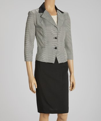 Black & White Color Block Lapel Blazer & Skirt