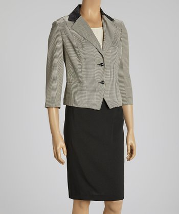 Black & Nude Color Block Lapel Blazer & Skirt