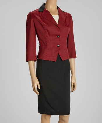 Black & Crimson Color Block Lapel Blazer & Skirt