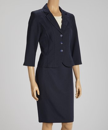 Navy Double Seam Blazer & Skirt