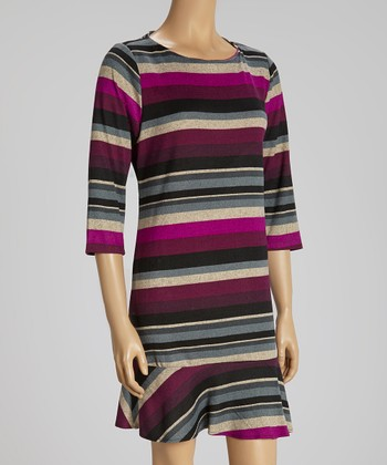 Gray & Eggplant Three-Quarter Sleeve Dress